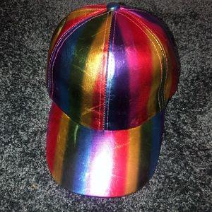 New! Iridescent Rainbow Metallic Baseball Hat Cap